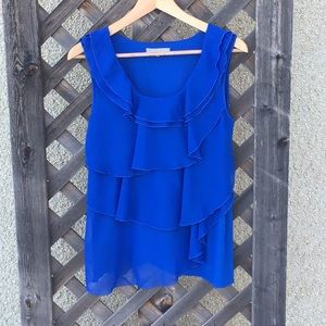 Violet & Claire beautiful blue layered ruffle top